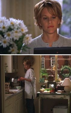That top image, frozen, of meg ryan as kathleen kelly in 'You've Got Mail' seems to me the perfect distillation of every moment I have carefully absorbed and mentally curated in my 25+ years of watching romantic comedies.  It's in the slight tilt of her head and in her gaze.  it's all there.  thanks, meg   (the daisies don't hurt).