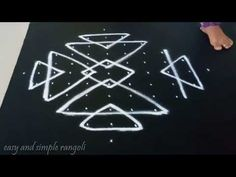easy rangoli design with 7x1 dots | simple kolam designs with dots | muggulu designs with dots - YouTube