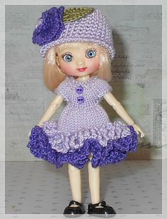 Amelia Thimble Dolls Lavender and Purple Ruffle Dress and Hat by JCsTinyTreasures on Etsy