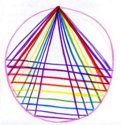 Waldorf ~ 5th grade ~ Form Drawing ~ Freehand Geometry ~ #22 Draw a circle with an equilateral triangle in it. Create more triangles by lifting then lowering the base. ~ main lesson book