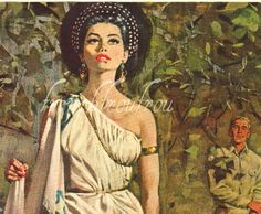 antique 1950 helen of troy pinup illustration by FrenchFrouFrou, $12.95