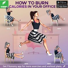 CALORIES IN YOUR OFFICE! Learn these workouts to burn some calories at your desk.Learn these workouts to burn some calories at your desk. Fitness Workouts, Fun Workouts, Yoga Fitness, At Home Workouts, Health Fitness, Yoga Videos, Workout Videos, Office Exercise, Exercise At Your Desk