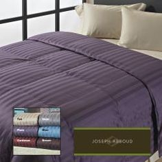 @Overstock - Add a splash of luxury to your bedroom with this cotton covered oversized down comforter. This soft and fluffy comforter features a baffle box construction for increased loft and warmth and a European down fill for a light and comfortable finish.http://www.overstock.com/Bedding-Bath/Joseph-Abboud-Classic-Stripe-400-Thread-Count-Oversized-Down-Comforter/6492007/product.html?CID=214117 $129.99