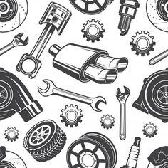 Doodles Bonitos, Carros Retro, Anker Tattoo, Automotive Shops, Mechanic Tattoo, Car Tattoos, Mechanical Art, Car Painting, Car Wallpapers