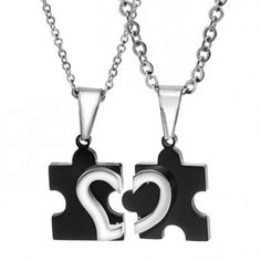 $29.95-Matching Love Heart Black Puzzle Necklaces For Couple