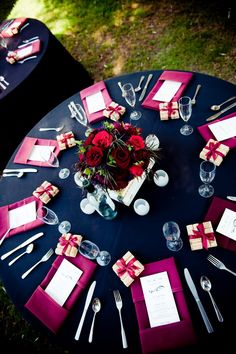 like the way the napkins are folded with the menu tucked in. like the way the napkins are folded with the menu tucked in. like the way the napkins are folded with the menu tucked in. Navy And Burgundy Wedding, Magenta Wedding, Jewel Tone Wedding, Fall Wedding, Our Wedding, Dream Wedding, Wedding Color Schemes, Wedding Colors, Ideas