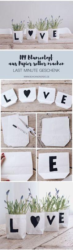 DIY Blumentopf Übertöpfe aus Papier selber machen. Einfaches Geschenk zum Muttertag und Valentinstag. Ein schönes Mitbringsel. Kreative Bastelidee für dein Zuhause. Dekos schnell selber basteln.