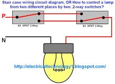 staircase wiring circuit diagram or how to control a lamp from two rh pinterest com