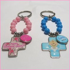 denarios llaveros souvenirs dobles personalizados x5 Christening Themes, Baby Baptism, Ideas Para Fiestas, First Communion, Baby Shower Favors, Bead Crafts, Projects To Try, Personalized Items, Birthday