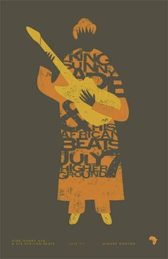 Gig poster for King Sunny Ade @ Higher Ground, Burlington, VT