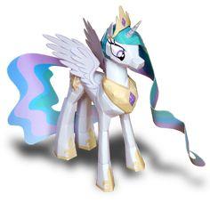 Maak je eigen prinses Celestia my little pony van Papercraft! Gratis uit printen en met de handleiding erbij.