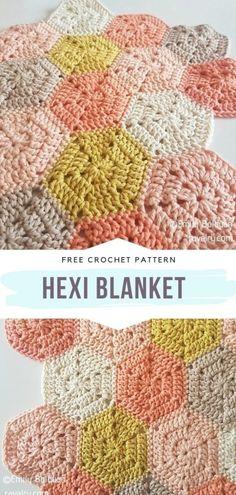 Hexagon Crochet Pattern, Crochet Hexagon Blanket, Afghan Crochet Patterns, Crochet Motif, Crochet Designs, Crochet Blankets, Crochet Granny Squares, Free Baby Crochet Patterns, Free Crochet Square