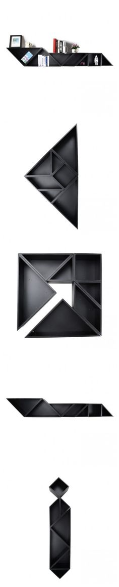 "I am seriously impressed!! ""Tangram"" Wooden Display Shelf: we can select different Tangram style shapes for our home 