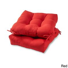 20-inch Outdoor Chair Cushion (Set of 2) (Red) (Plastic), Outdoor Cushion