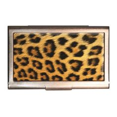 Business card holder id case black white star silver metal wallet here kitty kitty leopard id case business card holder wallet retro a go go reheart Choice Image
