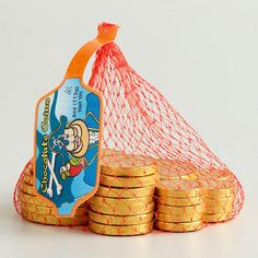 One of my favorite discoveries at WorldMarket.com: Steenland Mesh Bag of Chocolate Pirate Coins