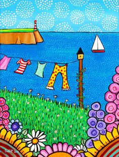 The Singing Clothesline Nova Scotia Giclee Print by AliceinParis Artist Shelagh Duffett