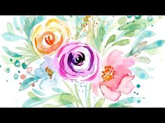 How to Paint Loose Watercolor Leaves the Easy Way for Florals // Sample Lesson Watercolor Video, Pastel Watercolor, Watercolor Leaves, Watercolour Painting, Watercolour Tutorials, Watercolor Pencils, Painting Tutorials, Painting Art, Rock Painting Ideas Easy