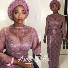 Latest Aso Ebi Styles creative Aso Ebi Styles To Check out Nigerian Lace Dress, Nigerian Lace Styles, Nigerian Outfits, African Lace Styles, Ankara Styles, African Attire For Ladies, African Wedding Attire, African Wear Dresses, Latest African Fashion Dresses