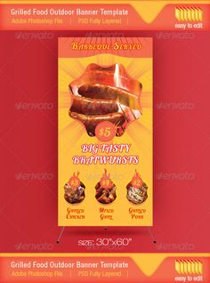Barbeque Served Food Outdoor Banner Template  #GraphicRiver         This roll up template is designed to be used for grill/barbecue events. Can be used to advertise your grilled products in outdoor places or for some commercial food offers from your menu.  	 You will receive 1 PSD editable file with the template from preview, 1 jpg file for fast preview and 1 PDF Help file.  	 Please note that the food images from preview are not included in the pack. If you want to download them please…