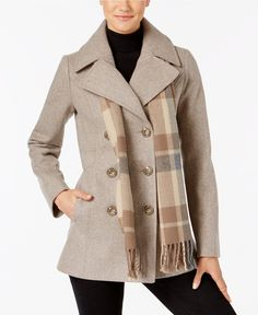 London Fog Petite Double-Breasted Peacoat With Scarf - Coats - Petites - Macy's