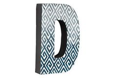 Letter D, Navy Greek Key on OneKingsLane.com