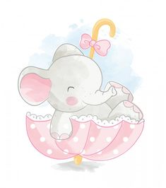 Cute Elephant In Umbrella Illustration Clipart Baby, Baby Clip Art, Baby Art, Baby Animal Drawings, Cute Drawings, Elephant Art, Cute Elephant, Cartoon Wallpaper, Baby Animals