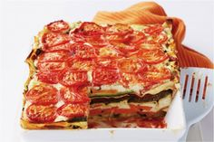 Cut this family favourite into portions so you can enjoy half now and freeze the rest for later. Roasted Vegetable Lasagna, Vegetable Lasagne, Vegetarian Lasagne, Vegan Vegetarian, Fondue Recipes, Vegan Recipes, Savoury Recipes, Savoury Dishes, Lasagne Recipes