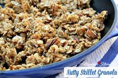 Nutty Skillet Granola! This stove top granola is by far my favorite. Quick and old fashioned oats, pecans, almonds, walnuts + real maple syrup. #granola #skillet recipe