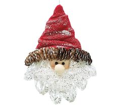 Santa face ornament with red hat and pine cones