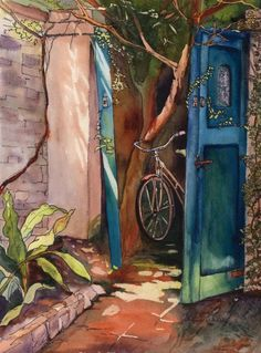 """Original watercolor painting titled """"Be Right Back"""" of a bike prompt up in an alley in Charleston, South Carolina Watercolor Architecture, Watercolor Landscape, Watercolor Flowers, Watercolor Paintings, Bicycle Art, Window Art, Funny Art, Illustration Art, Art Illustrations"""