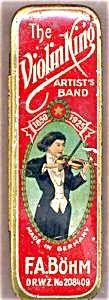 Violin King Advertising Harmonica Tin