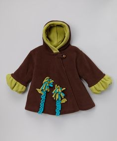 Look at this #zulilyfind! Brown & Olive Fleece Wrap Swing Coat - Infant, Toddler & Girls by Corky & Company #zulilyfinds