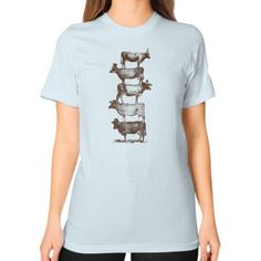 Cow Cow Nuts Unisex T-Shirt (on woman)