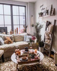 Modern Bohemian Living Room Remodel Ideas 13 - Home Decor Bohemian Living Rooms, Cozy Living Rooms, Apartment Living, Living Room Decor, Cozy Apartment, Hippie Living Room, Home Living, Studio Apartment, Apartment Design