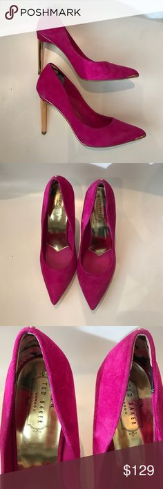 Ted Baker Pink Suede Pumps Ted Baker Pink Suede Pumps. Worn once, gold heels in like new condition. Size 40. Beautiful magenta tone. Ted Baker Shoes Heels