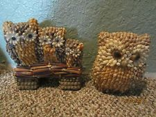 2 HANDMADE SEASHELL OWL FIGURINES