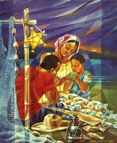 Pinoy fisherman and his family saying grace before a christmas meal Filipino Art, Filipino Culture, Recycled Parol, Christmas In The Philippines, Christmas Art, Christmas Decorations, Philippine Art, Cubism Art, Filipiniana
