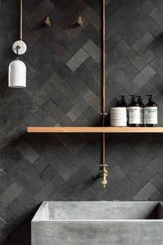 Rough finish herringbone tiles and deep concrete bathroom sink. Ramped up textures! Rough finish herringbone tiles and deep concrete bathroom. Small Bathroom Tiles, Modern Small Bathrooms, Bathroom Toilets, Laundry In Bathroom, Beautiful Bathrooms, Modern Bathroom, Bathroom Wall, Bathroom Faucets, Contemporary Bathrooms