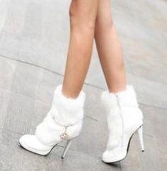 f080269e1bb Sexy Rabbit Fur High Heel Winter Ankle Boots US SZ