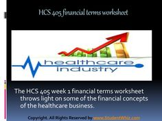 Hcs 405 week 1 health care financial terms worksheet by kiranreddy0900 via slideshare