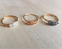 Etsy :: Your place to buy and sell all things handmade Wire Jewelry Rings, Wire Jewelry Designs, Handmade Wire Jewelry, Cute Jewelry, Crystal Jewelry, Jewelry Crafts, Beaded Jewelry, Jewelery, How To Make Rings
