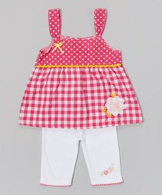 Fuchsia Daisy Gingham Tank & White Leggings - Infant & Toddler #zulily #zulilyfinds