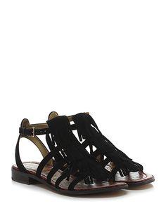 Sam Edelman - Sandalo basso - Donna - Sandalo basso in camoscio con cinturino alla caviglia e frange frontali. Suola in gomma, tacco 25. - BLACK - € 160.00