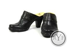 Sofft Black Studded Leather Slip on Chunky Clogs High Heels Shoes 8 M | eBay