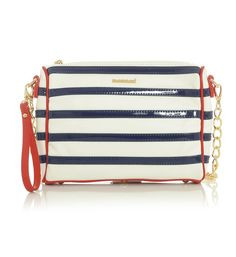 White & Navy Blue Striped Clutched Handbag with Red & Gold Accented Trim