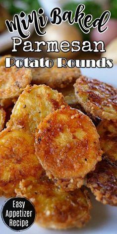 Mini Baked Parmesan Potato Rounds are the perfect appetizer, crispy, crunchy and delicious. #potatorecipe #easyappetizers #bakedminipotatoes #sidedish #greatgrubdelicioustreats