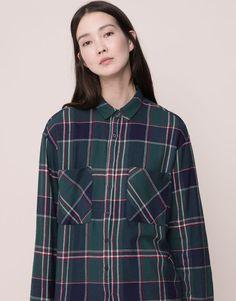 Pull&Bear - woman - blouses and shirts - basic checked print shirt - green - 09471334-I2015
