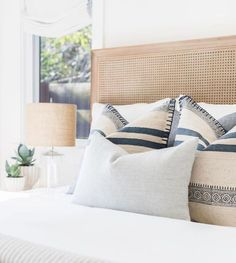 Dream bedroom idea withcane headboard and a soft cali design vibe. How to arrange pillows on a bed. How to make a guest bedroom feel welcoming. Bedroom Decor ideas on a budget Bedroom Inspo, Home Decor Bedroom, Bedroom Furniture, Bedroom Ideas, Modern Bedroom, Furniture Layout, Contemporary Bedroom, Bedroom Designs, Bedroom Artwork