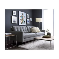 Shop Petrie Mid-Century Sofa. Now a Crate and Barrel classic, its pure 1960s aesthetic is scaled deep so you can sit firm and upright, but also slouch back in comfort.